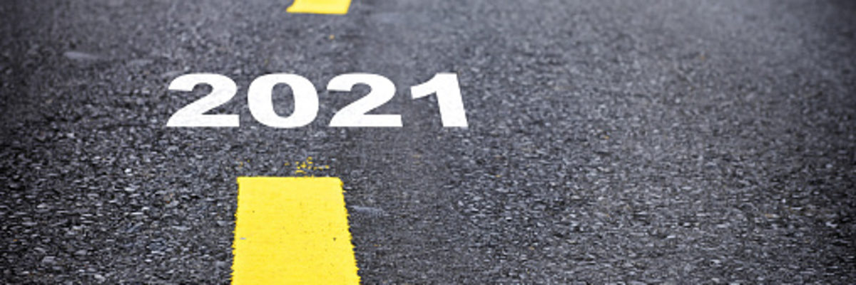 Number of 2021 to 2024 on asphalt road surface with marking lines